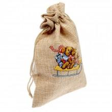 Мешочек подарочный Медведи на санях 13 х 18 см 1455018