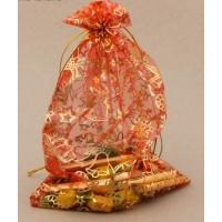 Мешочек подарочный органза  Новогодние игрушки  16 × 24 см