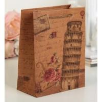 Пакет крафт Пизанская башня 20 х 8 х 25 см