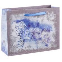 Пакет крафтовый горизонтальный  Зимний пейзаж  23 × 18 × 8 см