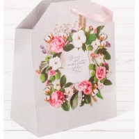Пакет подарочный  Всего что пожелает сердце  23 × 22 × 6 см
